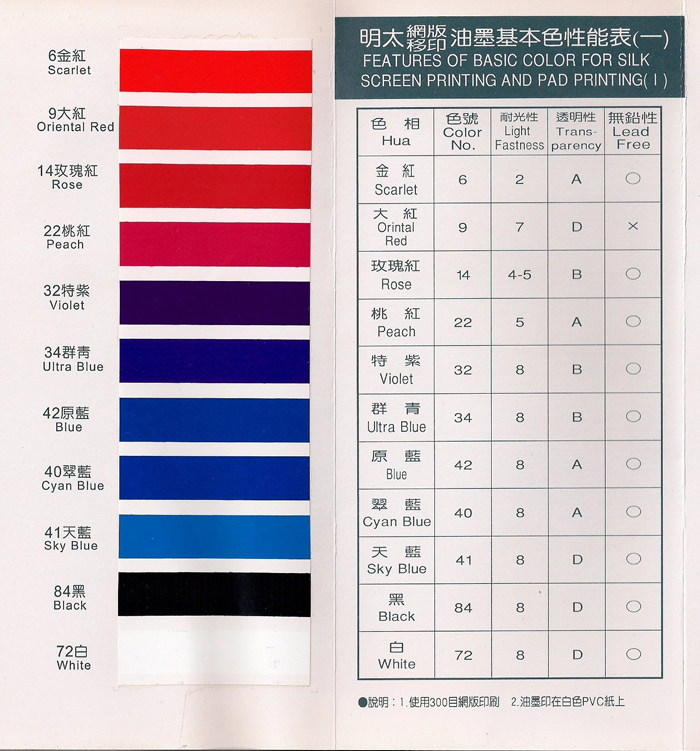 Features of Basic Color For Silk Screen Printing And Pad Printing - 1